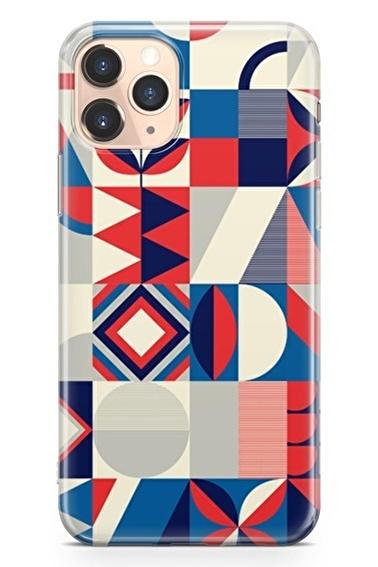 Lopard İphone 11 Pro Kılıf Silikon Arka Kapak Koruyucu Modern Geometri Desenli Full HD Baskılı Renkli